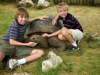 Boys with Galapagos tortoise